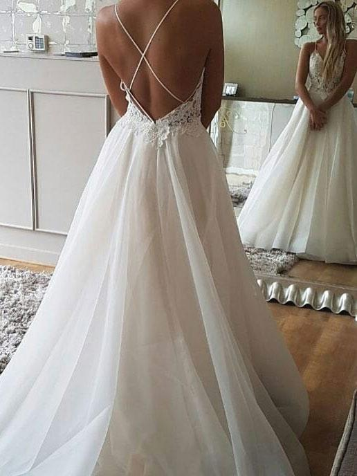 BohoProm Wedding Dresses Delicate Tulle Spaghetti Straps Neckline A-line Wedding Dresses WD130