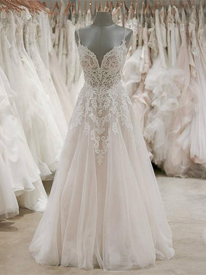 BohoProm Wedding Dresses Delicate Tulle Spaghetti Straps Neckline A-line Wedding Dresses WD141