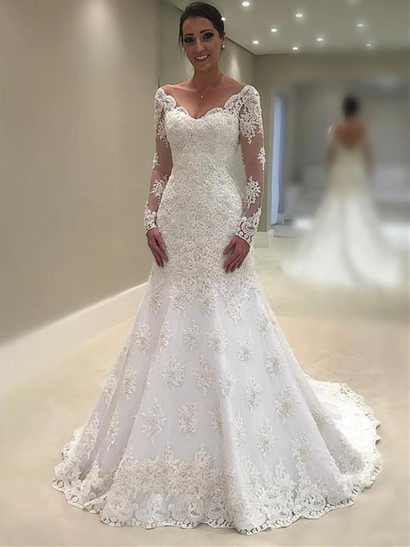 Elegant Lace V-neck Neckline Mermaid Wedding Dresses With Appliques WD087