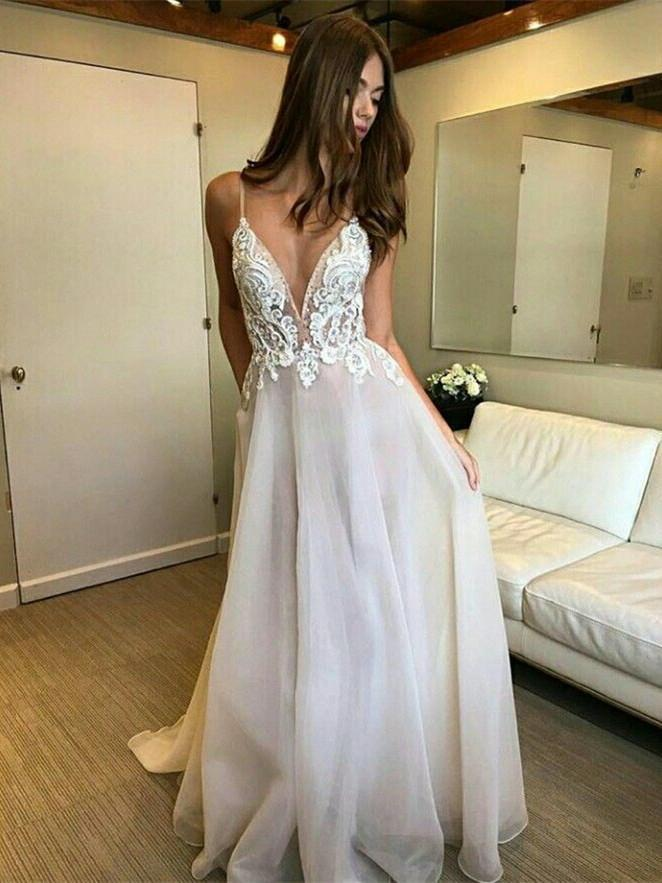 BohoProm Wedding Dresses Elegant Organza Spaghetti Straps Neckline A-line Wedding Dresses With Appliques WD106