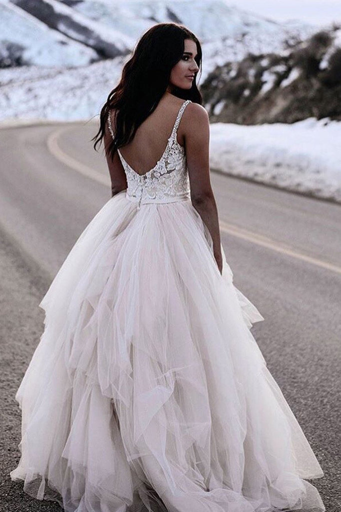 BohoProm Wedding Dresses Elegant Tulle & Lace Spaghetti Straps Neckline Ball Gown Wedding Dresses WD145