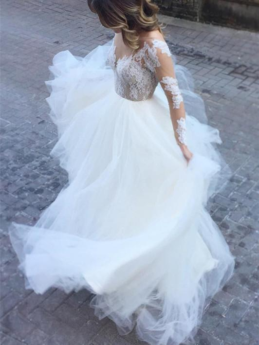 BohoProm Wedding Dresses Excellent Tulle Bateau Neckline Long Sleeves A-line Wedding Dresses WD084