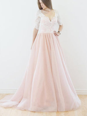 BohoProm Wedding Dresses Exquisite Chiffon V-neck Neckline A-line Wedding Dresses With Lace WD012