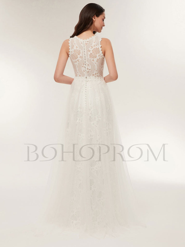 BohoProm Wedding Dresses Exquisite Lace Jewel Neckline Floor-length A-line Wedding Dresses WD118