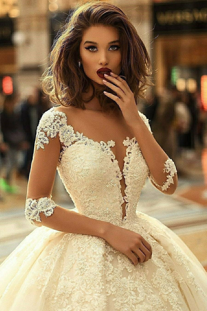 BohoProm Wedding Dresses Exquisite Tulle Bateau Neckline Ball Gown Wedding Dresses With Beaded Appliques WD082