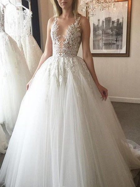 BohoProm Wedding Dresses Exquisite Tulle Jewel Neckline Ball Gown Wedding Dresses With Appliques WD045