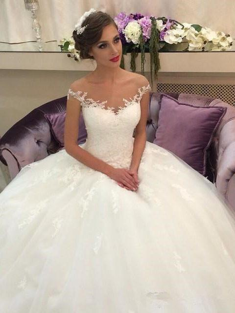BohoProm Wedding Dresses Exquisite Tulle Off-the-shoulder Neckline Ball Gown Wedding Dresses With Appliques WD101