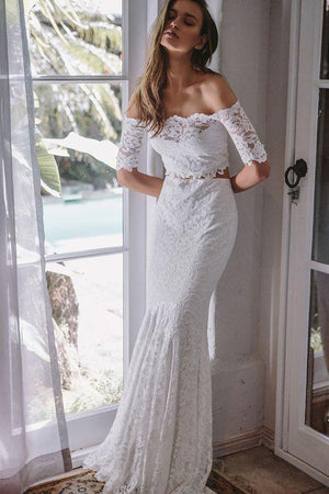 BohoProm Wedding Dresses Eye-catching Lace Off-the-shoulder Neckline 2 Pieces Mermaid Wedding Dresses WD152