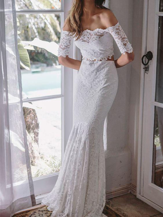 6435ac0381a BohoProm Wedding Dresses Eye-catching Lace Off-the-shoulder Neckline 2  Pieces Mermaid