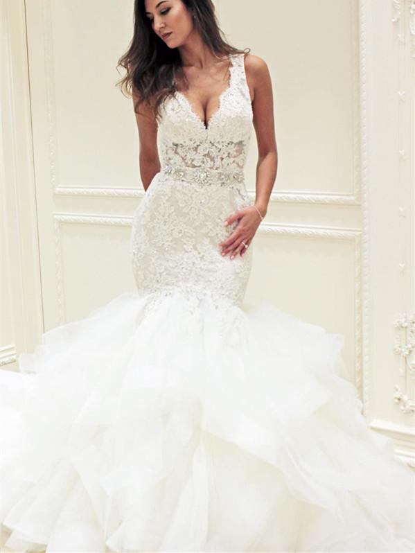 BohoProm Wedding Dresses Eye-catching Lace & Tulle V-neck Neckline Mermaid Wedding Dresses With Rhinestones WD072