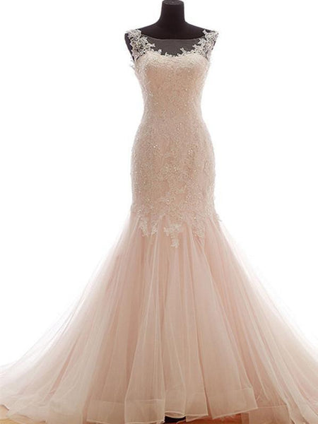 BohoProm Wedding Dresses Eye-catching Tulle Bateau Neckline Mermaid Wedding Dresses With Beaded Appliques WD054
