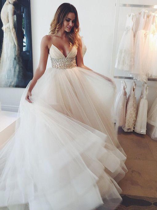 BohoProm Wedding Dresses Eye-catching Tulle Spaghetti Straps Neckline Ball Gown Wedding Dresses WD127