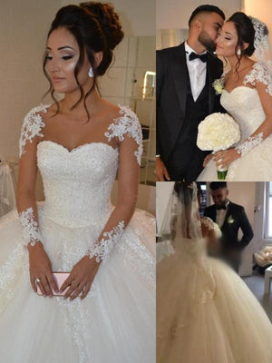 BohoProm Wedding Dresses Fabulous Tulle Bateau Neckline Ball Gown Wedding Dresses With Beaded Appliques WD080