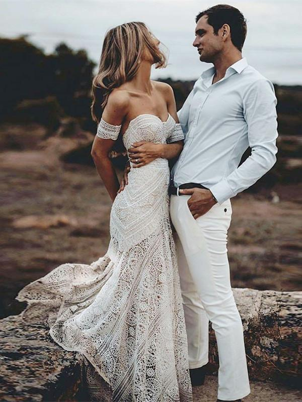 BohoProm Wedding Dresses Fashionable Lace Sweetheart Neckline Chapel Train Sheath Wedding Dresses WD121