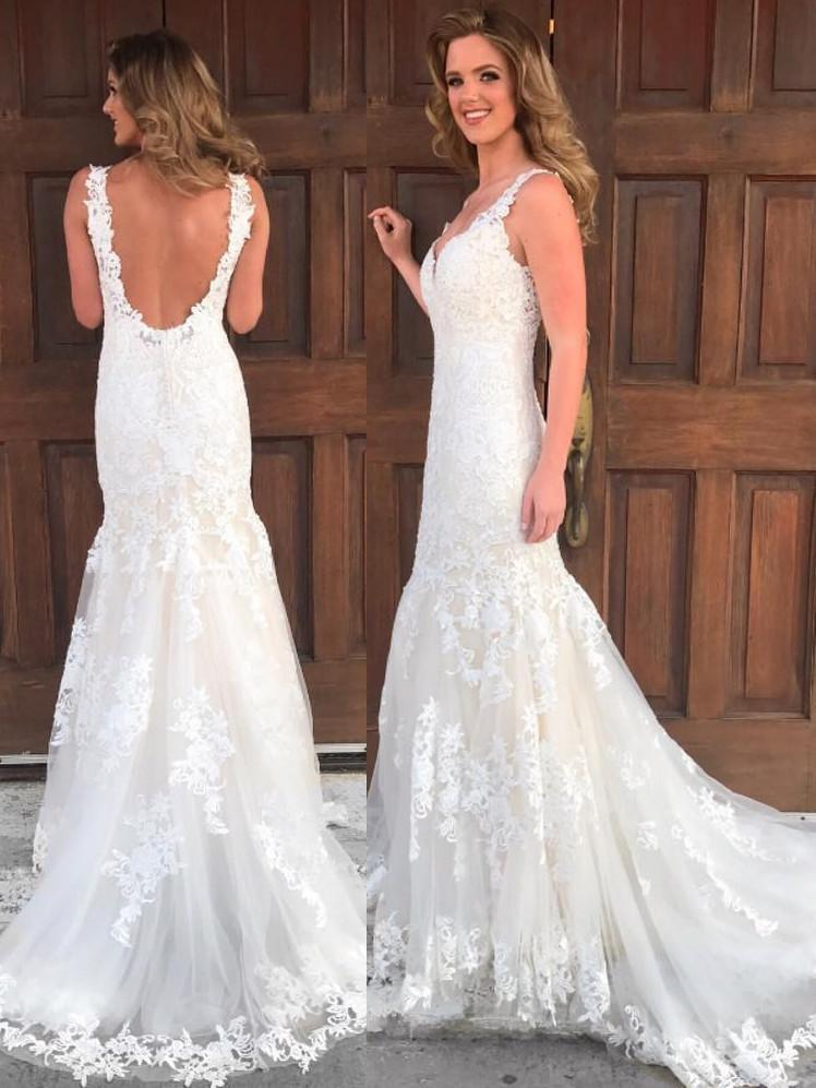 BohoProm Wedding Dresses Glamorous Lace V-neck Neckline Mermaid Wedding Dresses With Appliques WD029