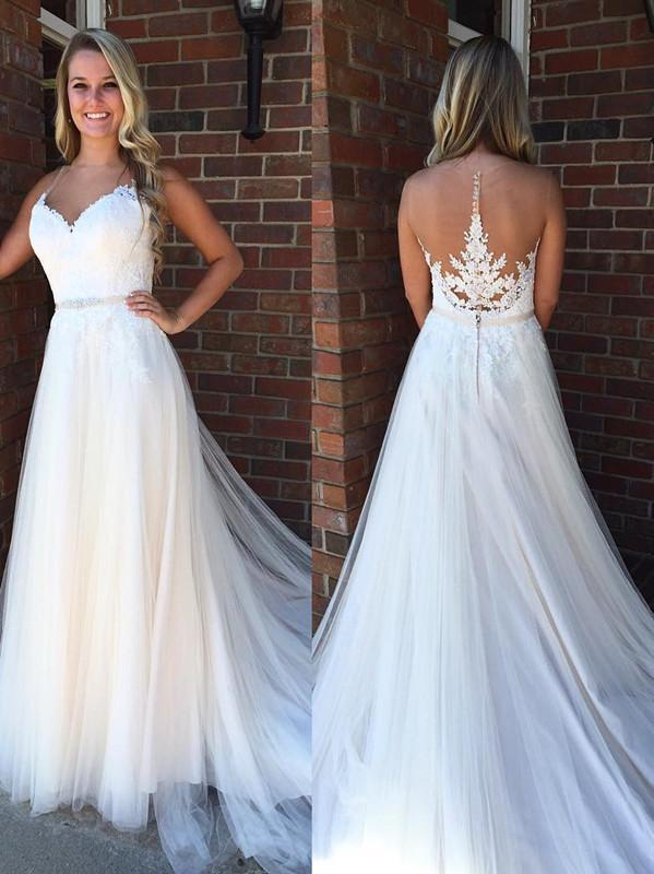 BohoProm Wedding Dresses Glamorous Tulle Jewel Neckline A-line Wedding Dresses With Appliques & Beadings WD049