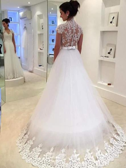 BohoProm Wedding Dresses Glamorous Tulle Queen Anna Neckline A-line Wedding Dresses With Appliques WD009
