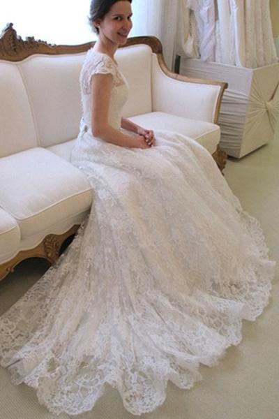 BohoProm Wedding Dresses Gorgeous Lace Scoop Neckline Chapel Train A-line Prom Dress WD010