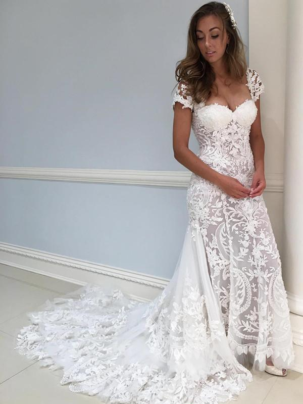 BohoProm Wedding Dresses Gorgeous Lace Sweetheart Neckline Short Sleeves Sheath Wedding Dress WD050