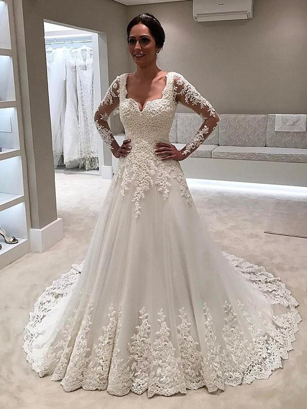 BohoProm Wedding Dresses Gorgeous Tulle V-neck Neckline Sweep Train A-line Wedding Dresses With Appliques WD028