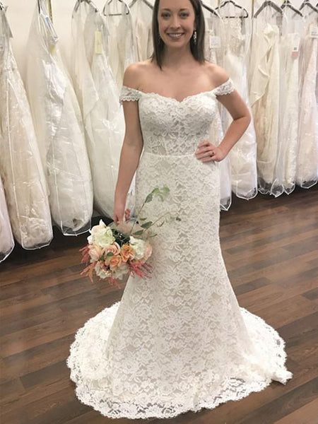 BohoProm Wedding Dresses Graceful Lace Off-the-shoulder Neckline Sweep Train Sheath Wedding Dresses WD098