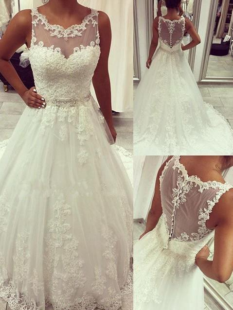BohoProm Wedding Dresses Graceful Tulle Scoop Neckline Chapel Train A-line Wedding Dress WD039