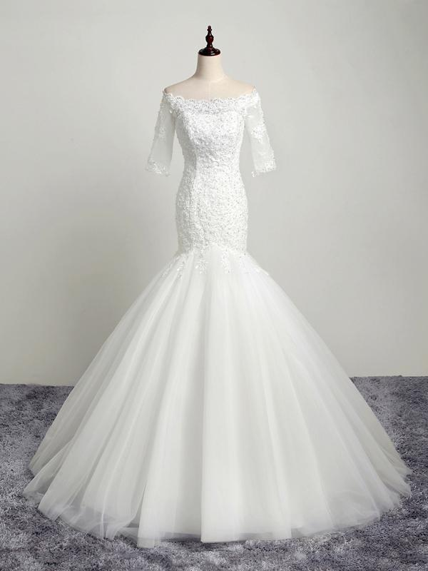 BohoProm Wedding Dresses Mermaid Off-Shoulder Chapel Train Tulle Appliqued Beaded Ivory Wedding Dresses ASD26963