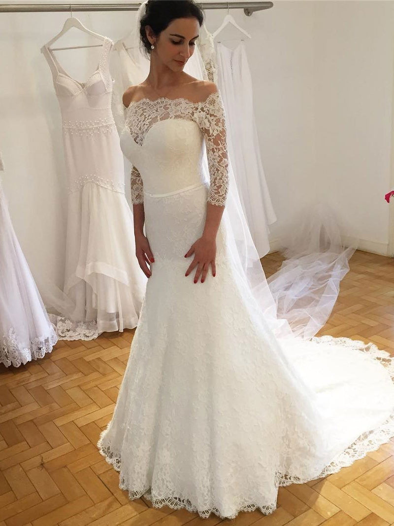 BohoProm Wedding Dresses Mermaid Off-Shoulder Sweep Train Lace Wedding Dresses With 3/4 Sleeves SWD036