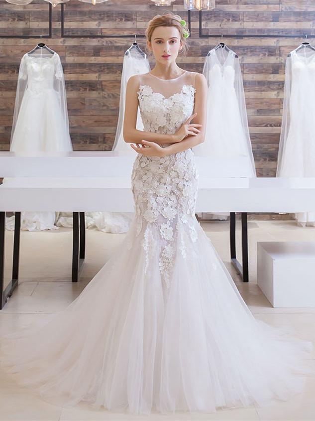 BohoProm Wedding Dresses Mermaid Scoop-Neck Chapel Train Tulle Appliqued Ivory Wedding Dresses ASD26955