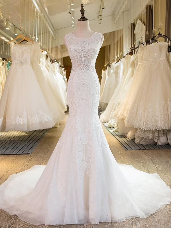 BohoProm Wedding Dresses Mermaid Scoop-Neck Chapel Train Tulle Ivory Wedding Dresses With Appliques Beadings ASD26970