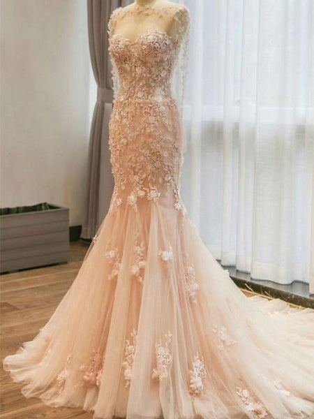 BohoProm Wedding Dresses Mermaid Scoop-neck Sweep Train Tulle Lace Long Wedding Dresses HX0054