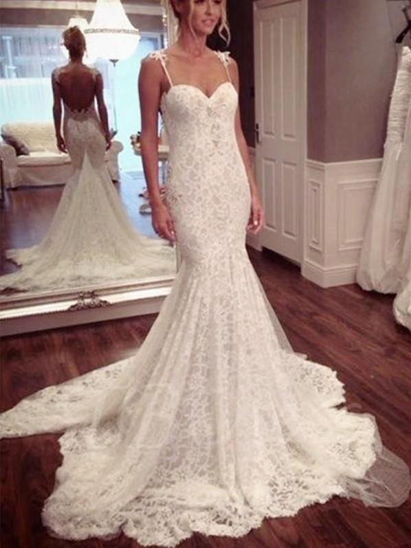 BohoProm Wedding Dresses Mermaid Spaghetti Strap Sweep Train Lace Elegant Wedding Dresses HX00168