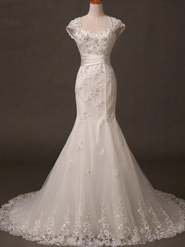 BohoProm Wedding Dresses Mermaid Square Chapel Train Tulle Appliqued Ivory Wedding Dresses With Beadings ASD26967