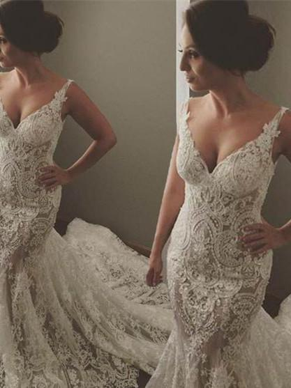 BohoProm Wedding Dresses Mermaid Sweetheart Chapel Train Lace Wedding Dresses ASD2634