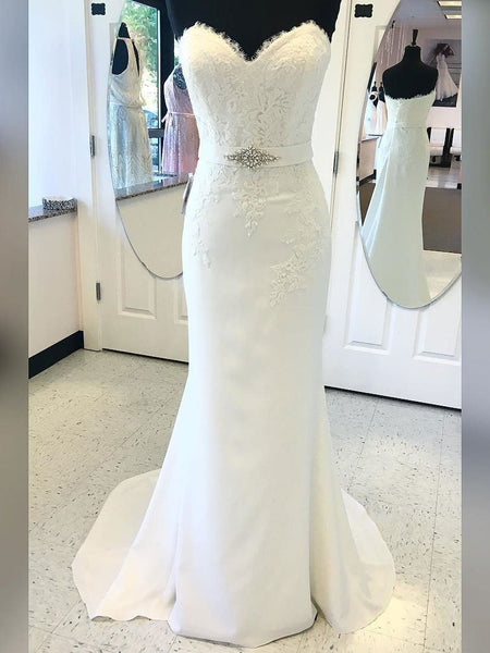 BohoProm Wedding Dresses Mermaid Sweetheart Sweep Train Satin Lace Beaded Rhine Stone Wedding Dresses SWD001