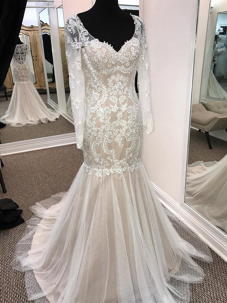 BohoProm Wedding Dresses Mermaid Sweetheart Sweep Train Tulle Appliqued Long Wedding Dresses APD2675