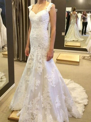 BohoProm Wedding Dresses Mermaid Sweetheart Sweep Train Tulle Appliqued Wedding Dresses ASD26730