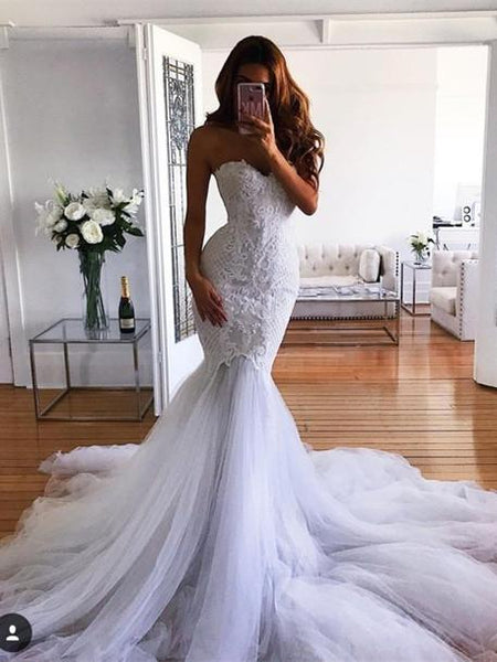 BohoProm Wedding Dresses Mermaid Sweetheart Sweep Train Tulle Appliqued Wedding Dresses ASD26731