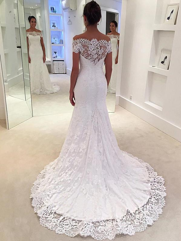 BohoProm Wedding Dresses Modern Lace Off-the-shoulder Neckline Chapel Train Mermaid Wedding Dress WD063