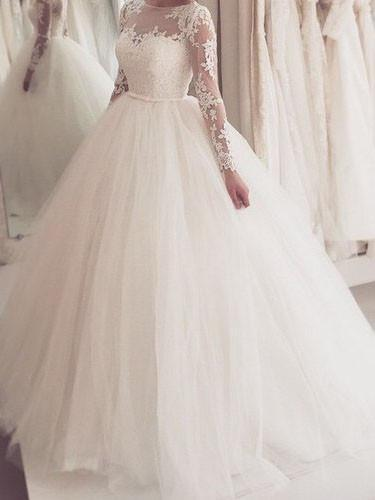 Modest Tulle Bateau Neckline Ball Gown Wedding Dresses With Appliques Wd093 Bohoprom
