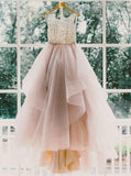 BohoProm Wedding Dresses Modest Tulle Scoop Neckline Sweep Train A-line Wedding Dress WD037