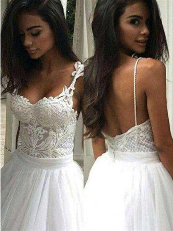 BohoProm Wedding Dresses Modest Tulle Spaghetti Straps Neckline Ball Gown Wedding Dresses WD150