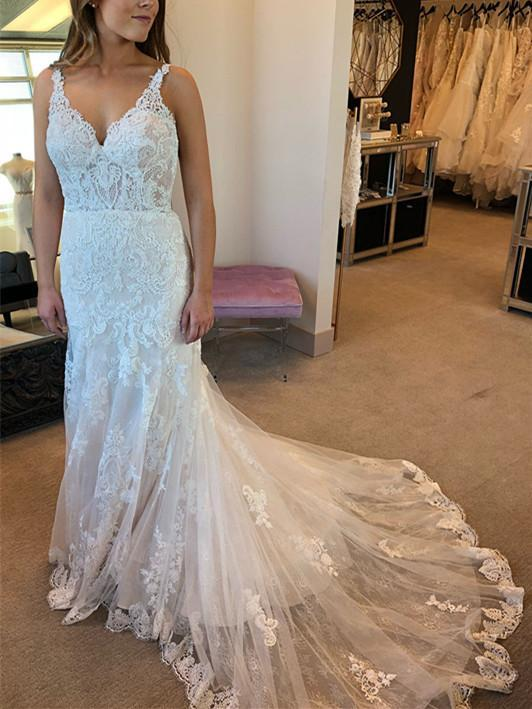 BohoProm Wedding Dresses Modest Tulle V-neck Neckline Chapel Train Sheath Wedding Dresses With Appliques WD061