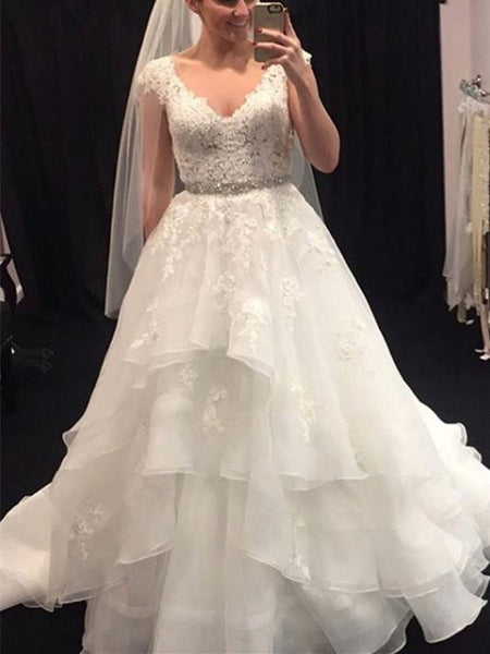 BohoProm Wedding Dresses Outstanding Organza V-neck Neckline A-line Wedding Dresses With Beadings WD076