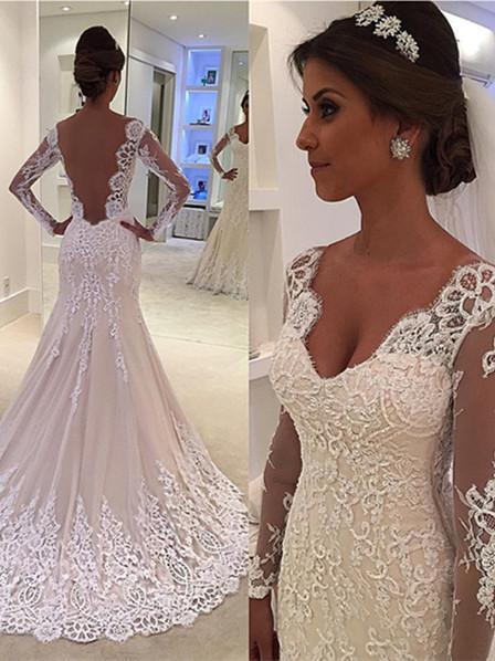 BohoProm Wedding Dresses Outstanding Tulle V-neck Neckline Sheath Wedding Dresses With Beaded Appliques WD053