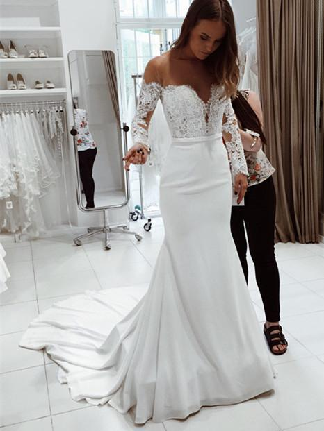BohoProm Wedding Dresses Popular Chiffon Batea Neckline Sheath Wedding Dresses With Appliques WD064