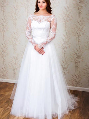 BohoProm Wedding Dresses Popular Tulle Bateau Neckline Chapel Train A-line Wedding Dresses With Lace WD006
