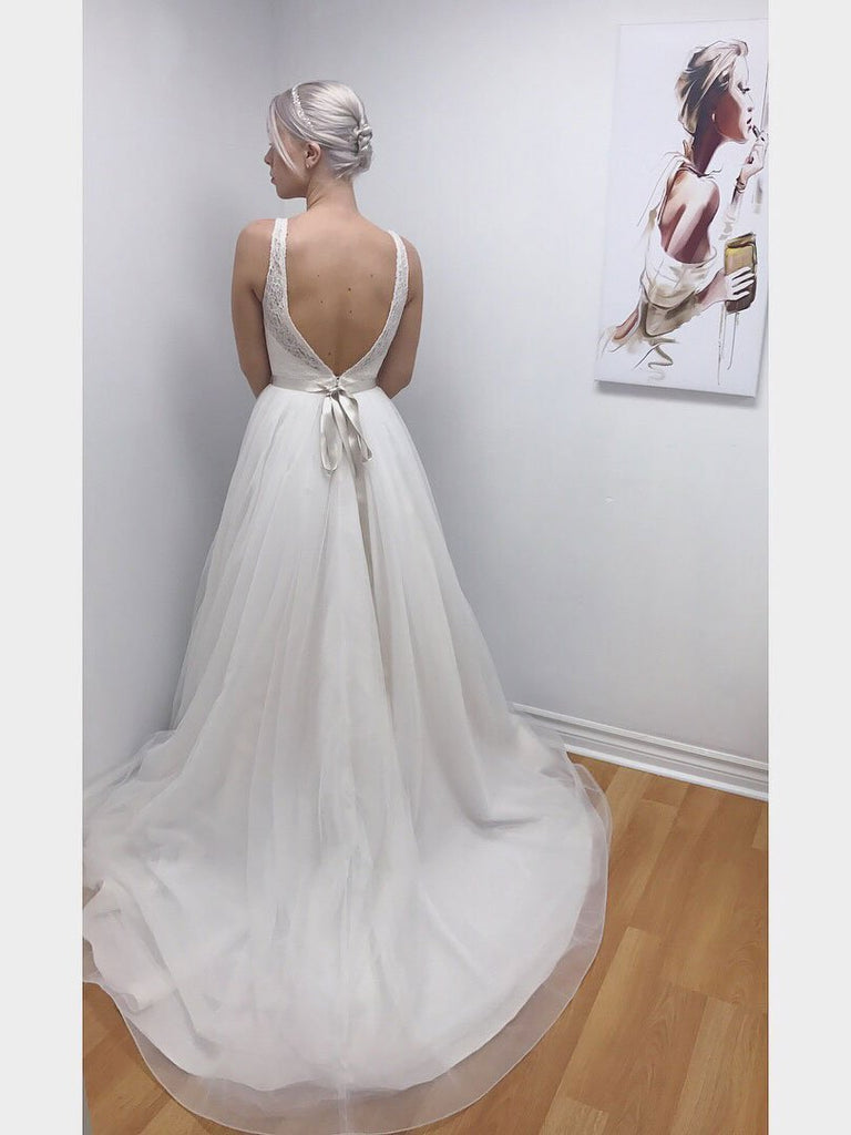 BohoProm Wedding Dresses Pure Lace & Tulle V-neck Neckline Floor-length A-line Wedding Dress WD001