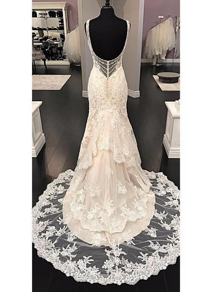 BohoProm Wedding Dresses Pure Lace V-neck Neckline Mermaid Wedding Dresses With Rhinestones WD086
