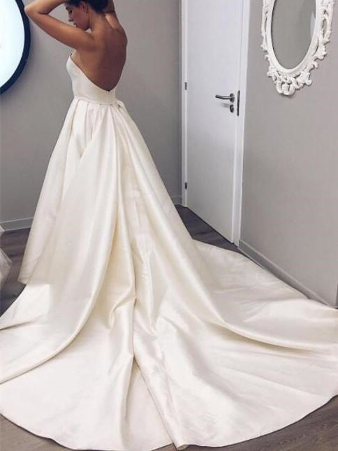 BohoProm Wedding Dresses Pure Satin Strapless Neckline Cathedral Train A-line Wedding Dress WD003
